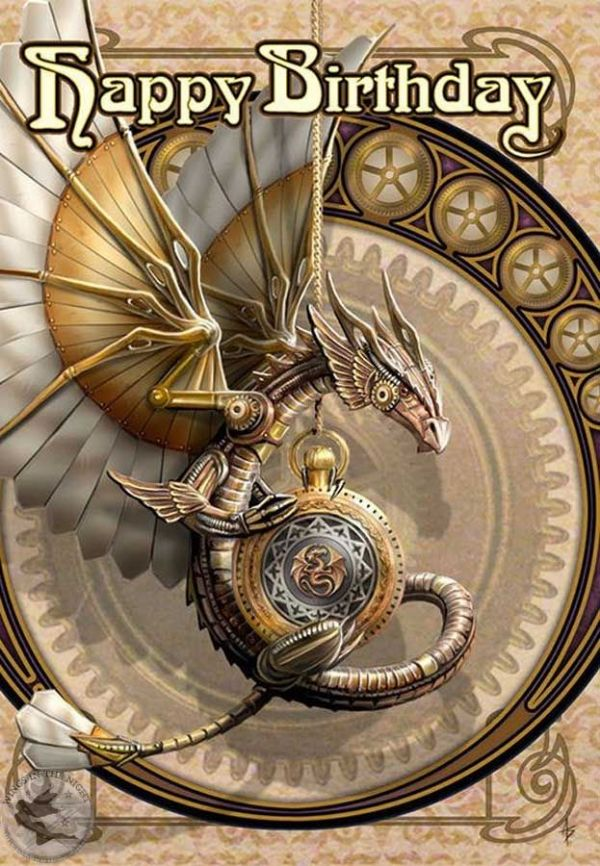 ANNE STOKES Clockwork Dragon Steampunk Birthday Greeting Card